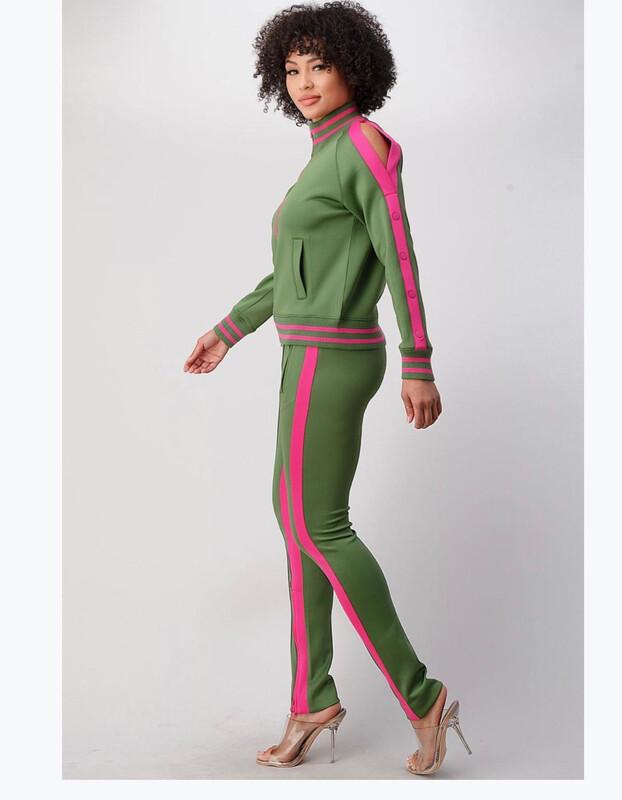 Green/Pink Cold Shoulder Jogger Set