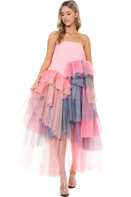 Pink Tulle Layered Skirt / Dress
