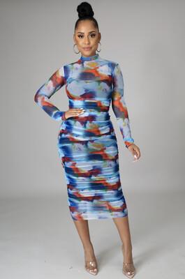 Blue Multi MIDI Floral Dress