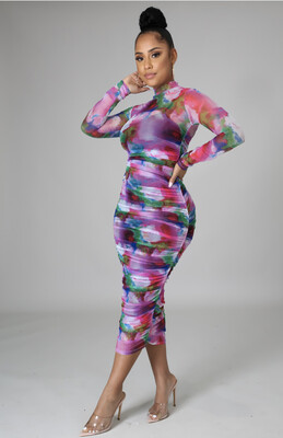 Pink Multi MIDI Floral Dress