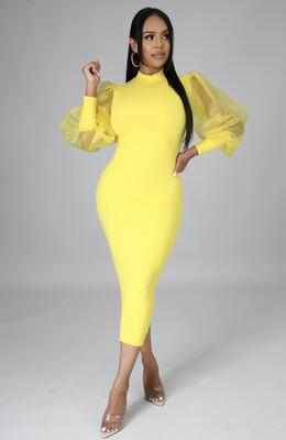 Yellow Sheer Sleeve Dress