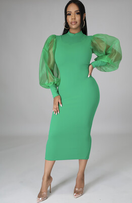 Green Sheer Sleeve Dress