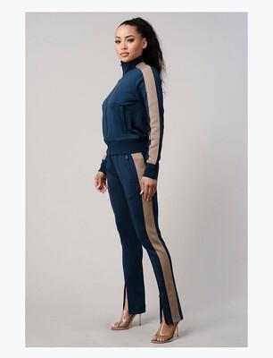 Blue With Beige Stripe Jogger Set