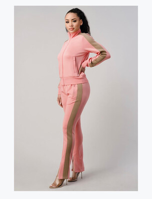 Coral With Beige Stripe Jogger Set
