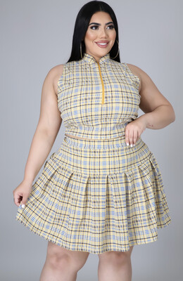 Yellow Plaid Skirt Set