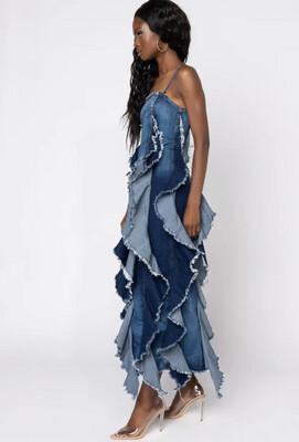 Denim Maxi Dress With Fringe