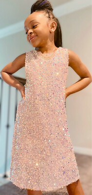 Blush Iridescent Sparkle Dress