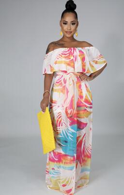 Multi Print Off Shoulder Dress