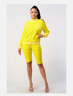 Neon Yellow Cold Shoulder Bermuda Short Set