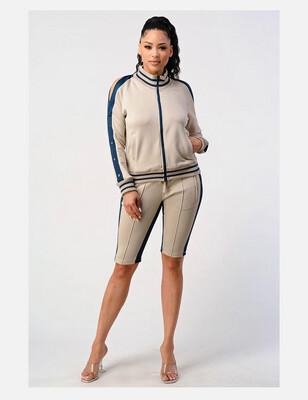 Tan With Navy Stripe Cold Shoulder Bermuda Short Set