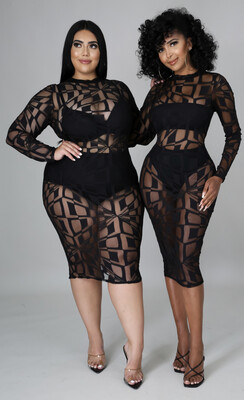 Black Sheer Scribble Dress