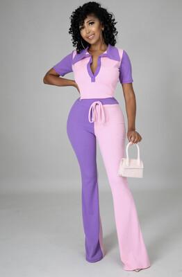 Purple Pink Pant Set