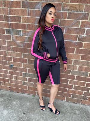 Black With Pink Stripe  Cold Shoulder Bermuda Set