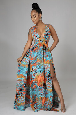 Teal Orange Tropical Dress