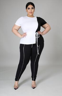 White Black Legging Set