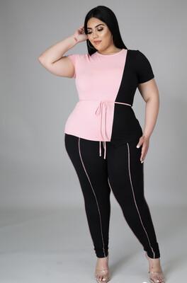 Pink Black Legging Set