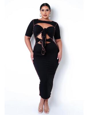 Black Double Tie Dress