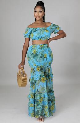 Blue Floral Skirt Set