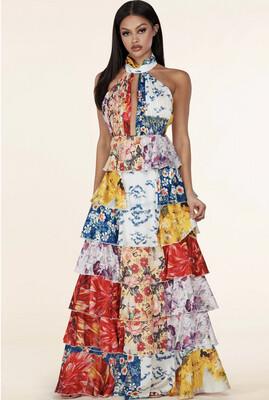 MULTI FLORAL HALTER DRESS