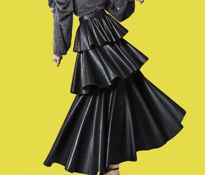 Black Faux Leather Peplum Skirt