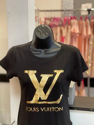 Gold L Lettered T-Shirt - Black