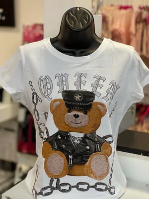 Bling Queen Bear T-Shirt - White