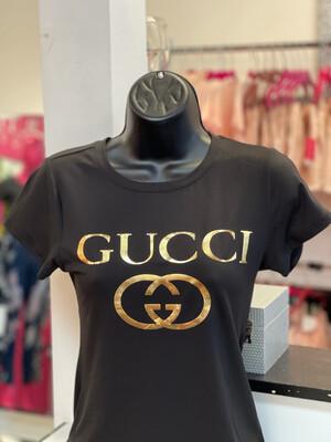 Gold G Lettered G T-Shirt - Black