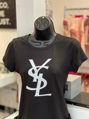 White Y Lettered G T-Shirt - Black
