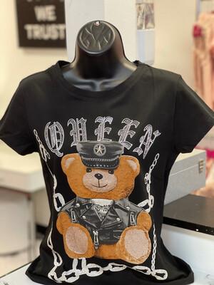 Bling Queen Bear T-Shirt - Black