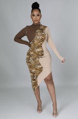 Brown Mix Print Dress
