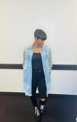 Light Blue Jeweled Sleeve Jacket