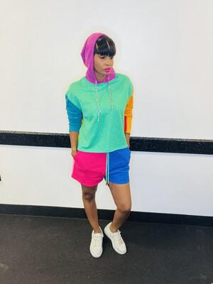 Multi Print Bejeweled Sweatshirt