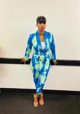 Blue Tye Dye Jogger Suit
