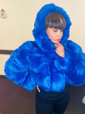 Royal Blue Faux Fur Jacket