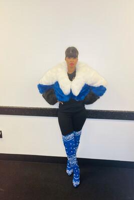 Royal Blue Multi Stripe Faux Fur Jacket