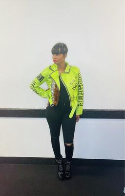 Lime Green Leopard Fashion Jacket