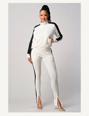 White With Black Stripe Jogger Set