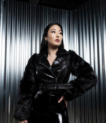 Black Faux Fur Sleeve Jacket