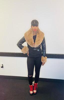 Black With Brown Faux Fur Jacket