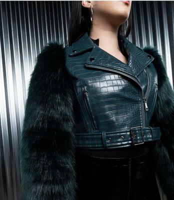 Green Faux Fur Sleeve Jacket