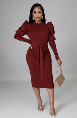 Burgundy Knit Puff Sleeve Dress