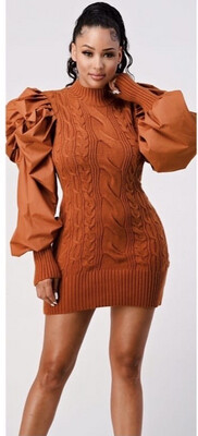 Cognac Sweater Dress