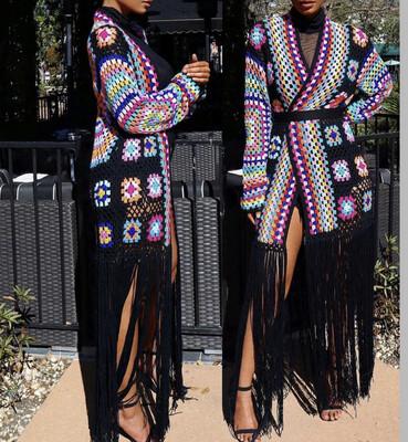 Black Multi Color Knit Cardigan