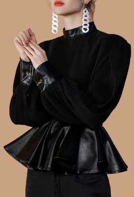 Black Leather Sleeve Peplum Top