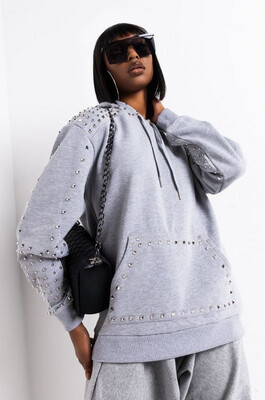 Grey Studded Hoodie