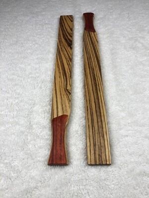 Tai Chi Sticks - 2.5 lbs - Zebrawood with Padauk Handles