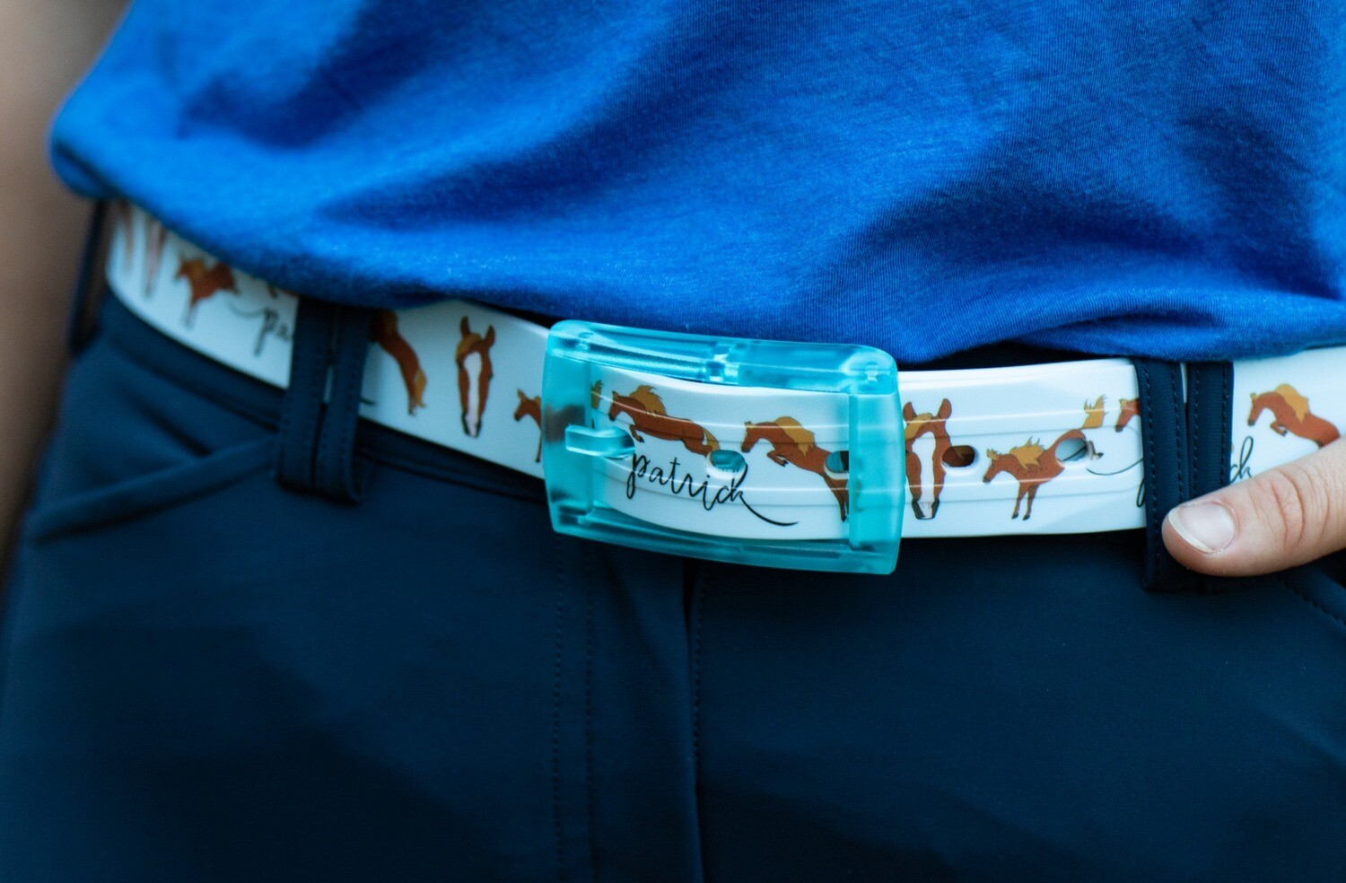 c4 Belt- Baby Blue with Jumping sequence and face