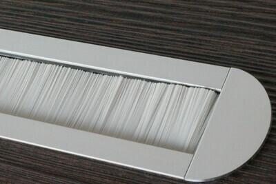Kabelauslass TV - abgerundete Endkappe Bürste grau