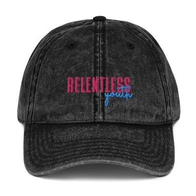 80's Relentless Youth - Vintage Black Dad Cap