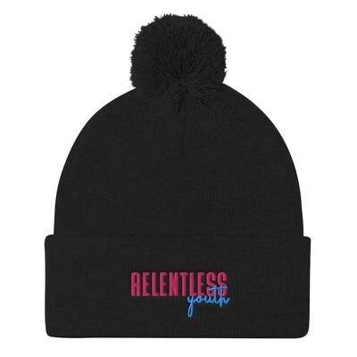 80's Relentless Youth - Black Pom Pom Knit Cap